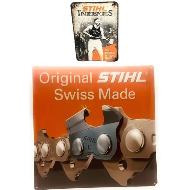 Stihl Schild Blechschild Kettenkompetenz Sägekette Swiss Made 39 x 39 cm Schild inkl. Kühlschrankmagnet  History Vintage Nostalgie