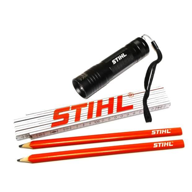 Stihl Zollstock + Zimmermannsbleistift +Taschenlampe LED
