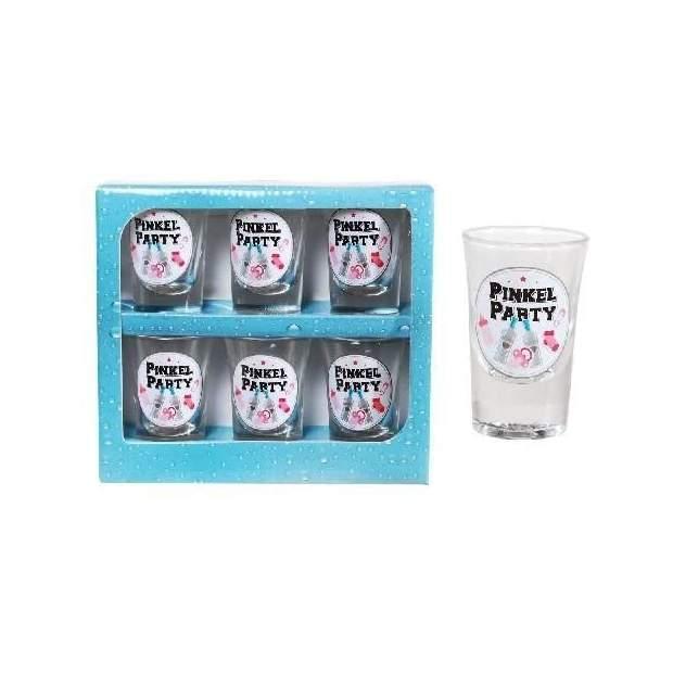 Geburt Mädchen Schnapsglas Set Pinkel-Party rosa 6 Stück