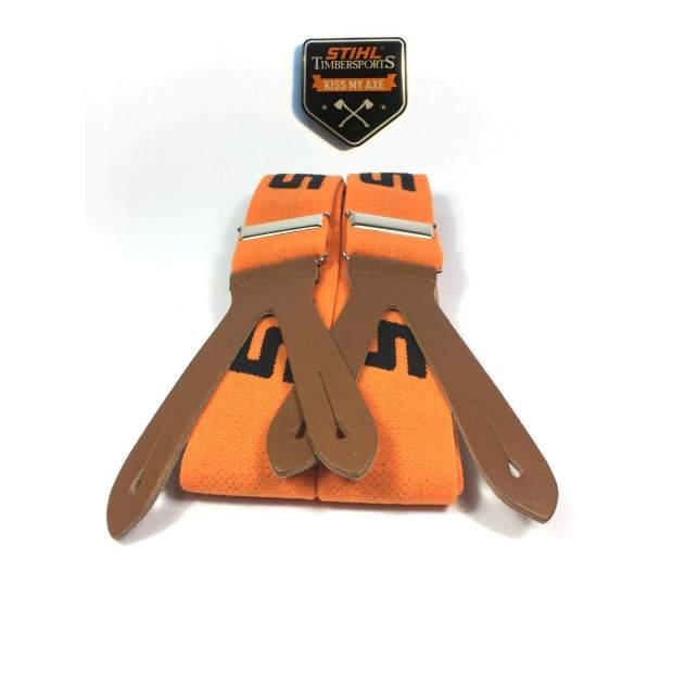 Stihl Hosenträger Laschen Knöpfen Orange 120 cm Länge & Timbersports Magnet