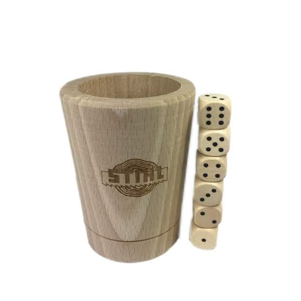 Stihl Würfelbecher Buchenholz mit 6 Würfeln, PEFC zertifiziert, 9 x 6 cm