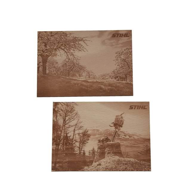 Stihl Postkarten Holz 2 Stück 166 x 95 x 3 mm Buchensperrholz