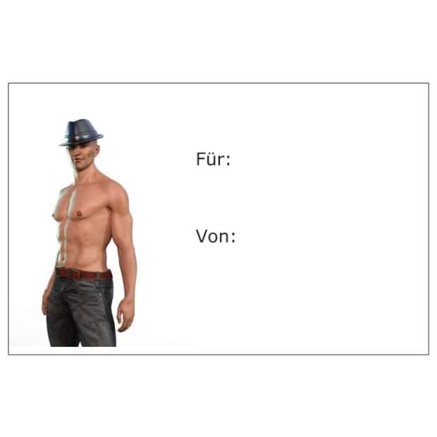 Geschenkanhänger Geschenkarte sexy Mann Oberkörper Frei