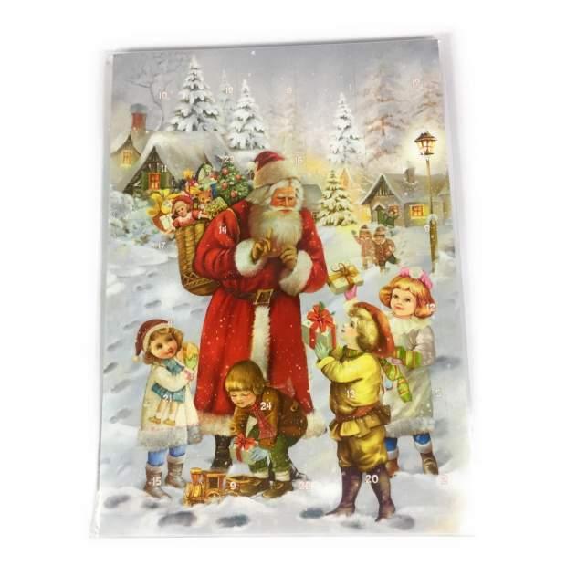 Adventskalender 12 x 17 cm, mit Glitzer  Weihnachtsmann im Schnee