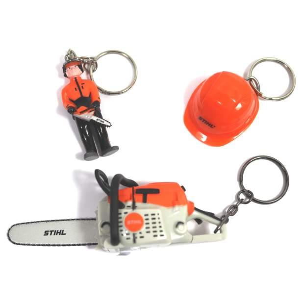 Stihl Schlüsselanhänger, Wald-Arbeiter, Helm, Motor-Säge, 3-er Set
