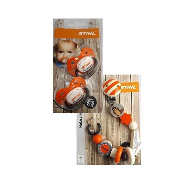 Stihl Schnuller 2 Stck. + Schnullerkette Baby Bundle Set