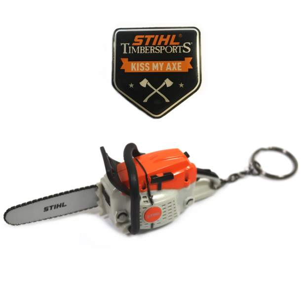 Stihl Schlüsselanhänger mit Geräusch + Magnet Pin