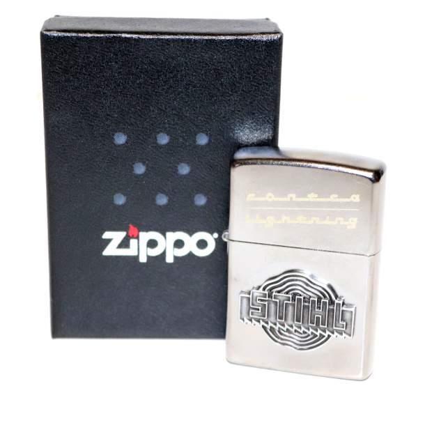 Stihl Zippo Sturmfeuerzeug Chrom Gebürtstet Silber